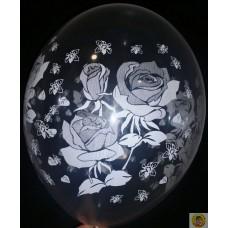Balloons - Print Roses / Transparent / 30 cm / 20 pcs